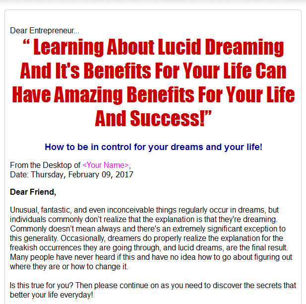 Lucid Dreaming And Its Benefits For Your Life Plr Ebook