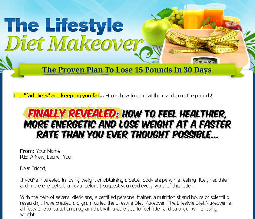 Lifestyle diet makeover plr ebook with audio video click here to view full sales page fandeluxe Gallery