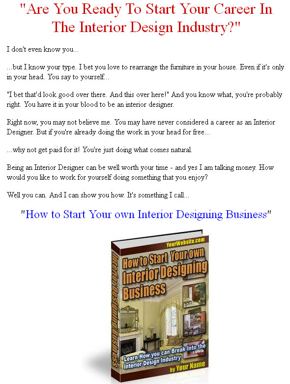 New Plr How To Start Your Own Interior Designing Business Resale Rights Ebook Download