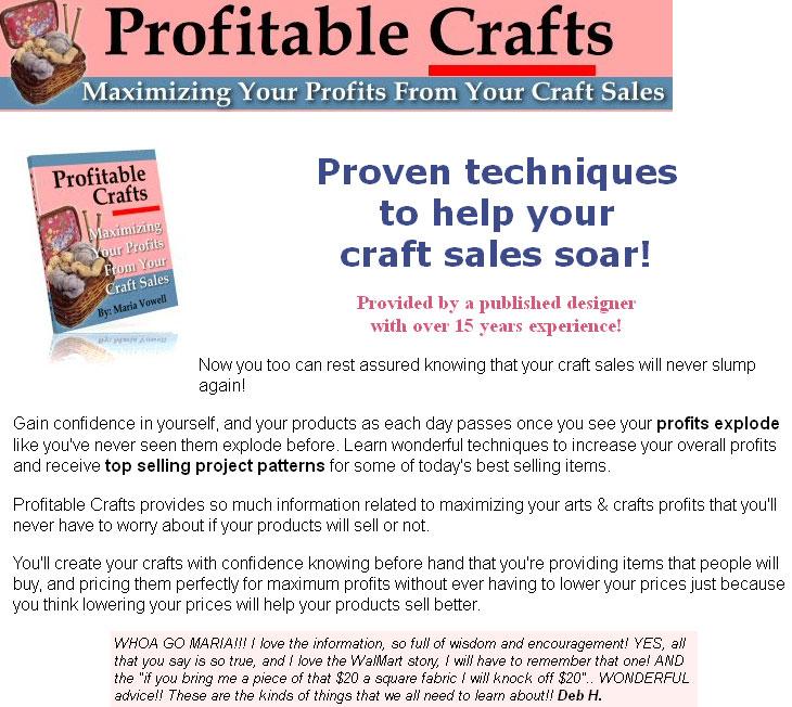 Profitable crafts vol 1 resale rights ebook for Profitable crafts