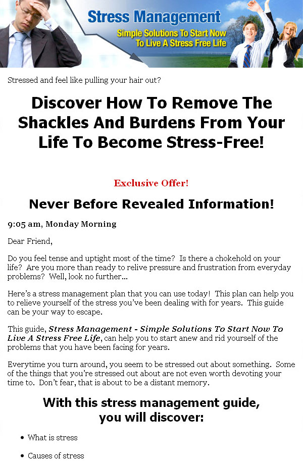 stress management program for salespeople The stress management program is for personnel in any organization whether it is small, medium or large, private or government departments.