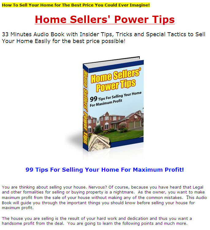 Home sellers power tips plr ebook with audio click here to view sales page ebook sample content preview fandeluxe Gallery